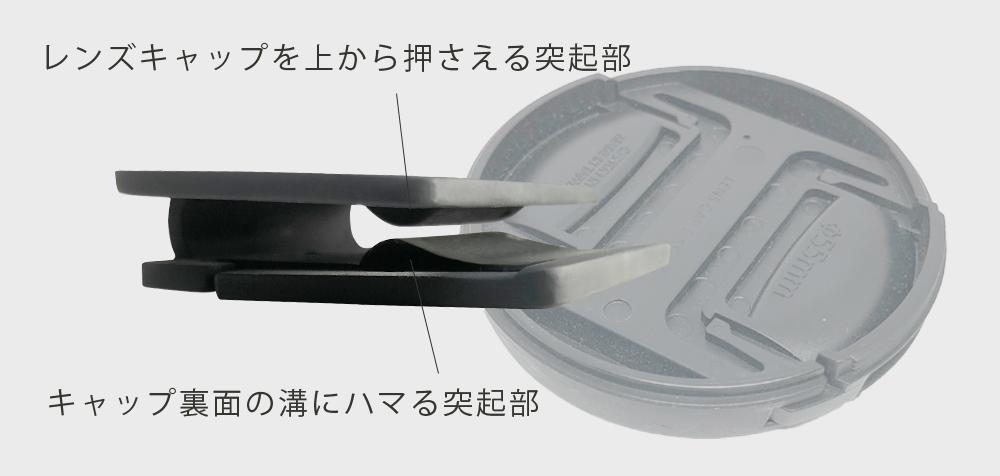 レンズキャップ用クリップCAPNiPキャップをしっかり両面でホールド
