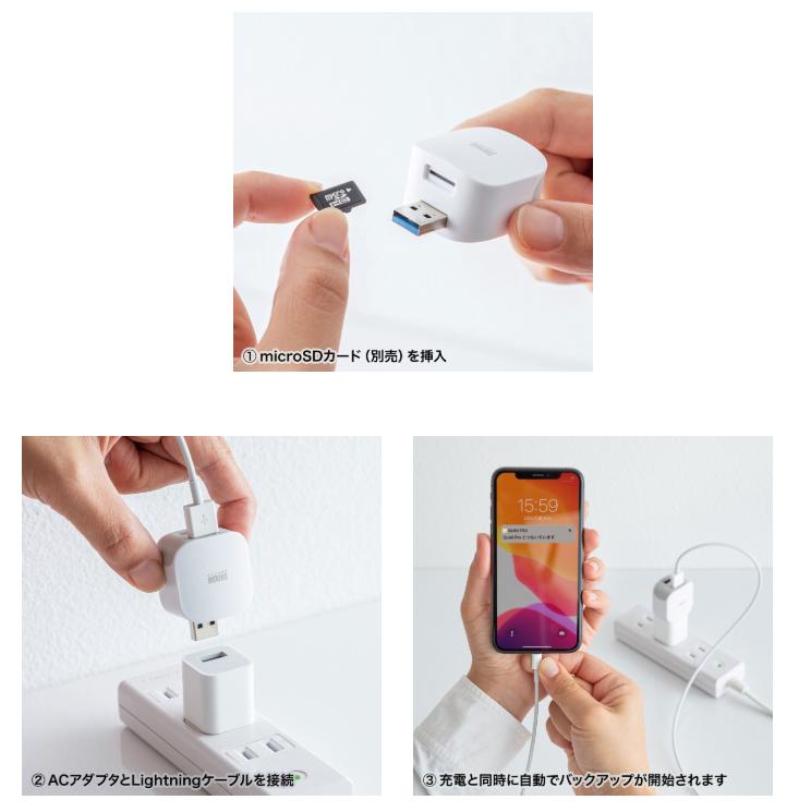 パソコンを使わずにiPhoneやiPadのデータバックアップができるカードリーダー「ADR-IPBUW」