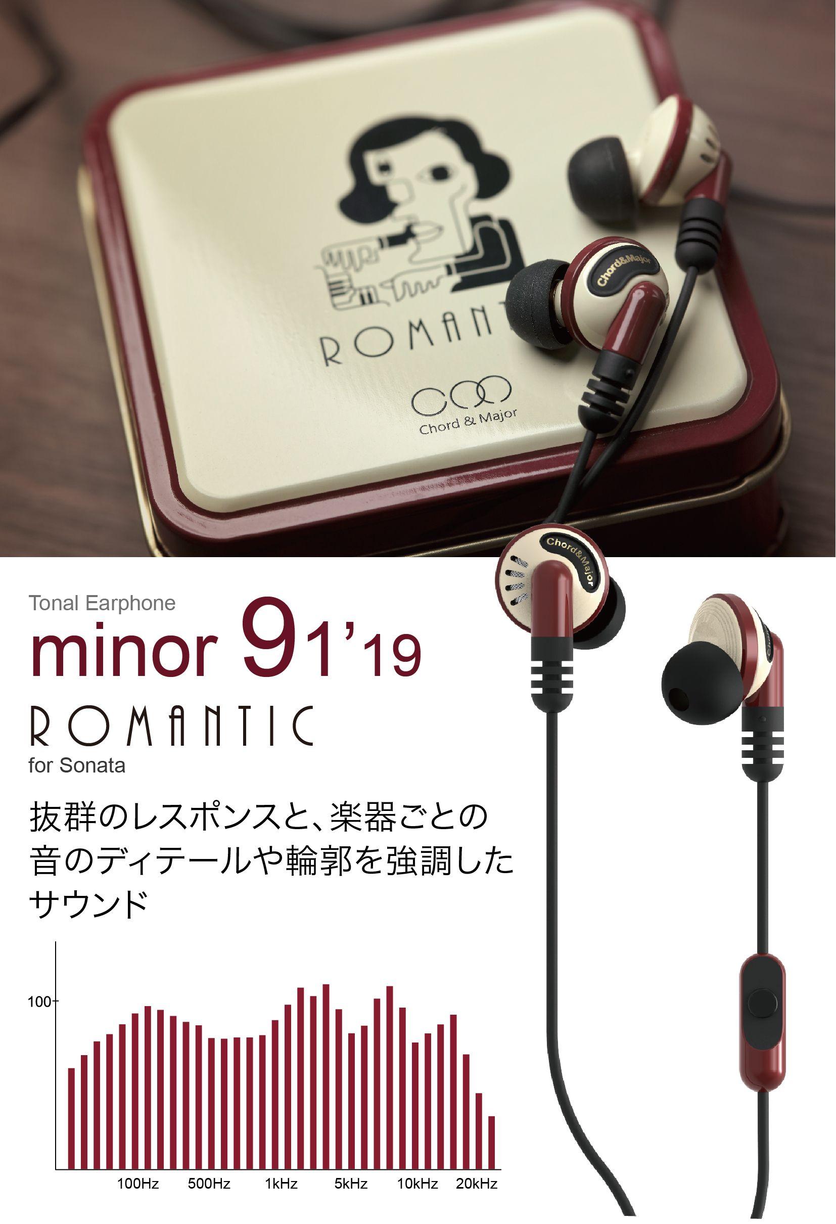 ジャンルに合わせて音色の異なるイヤホン【minor】シリーズ