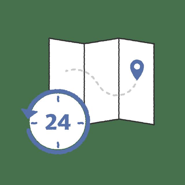 24時間と地図シンボル