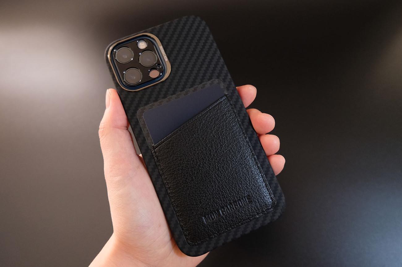 monCarbone カードスロット付きカーボンファイバーケース(iPhone12)