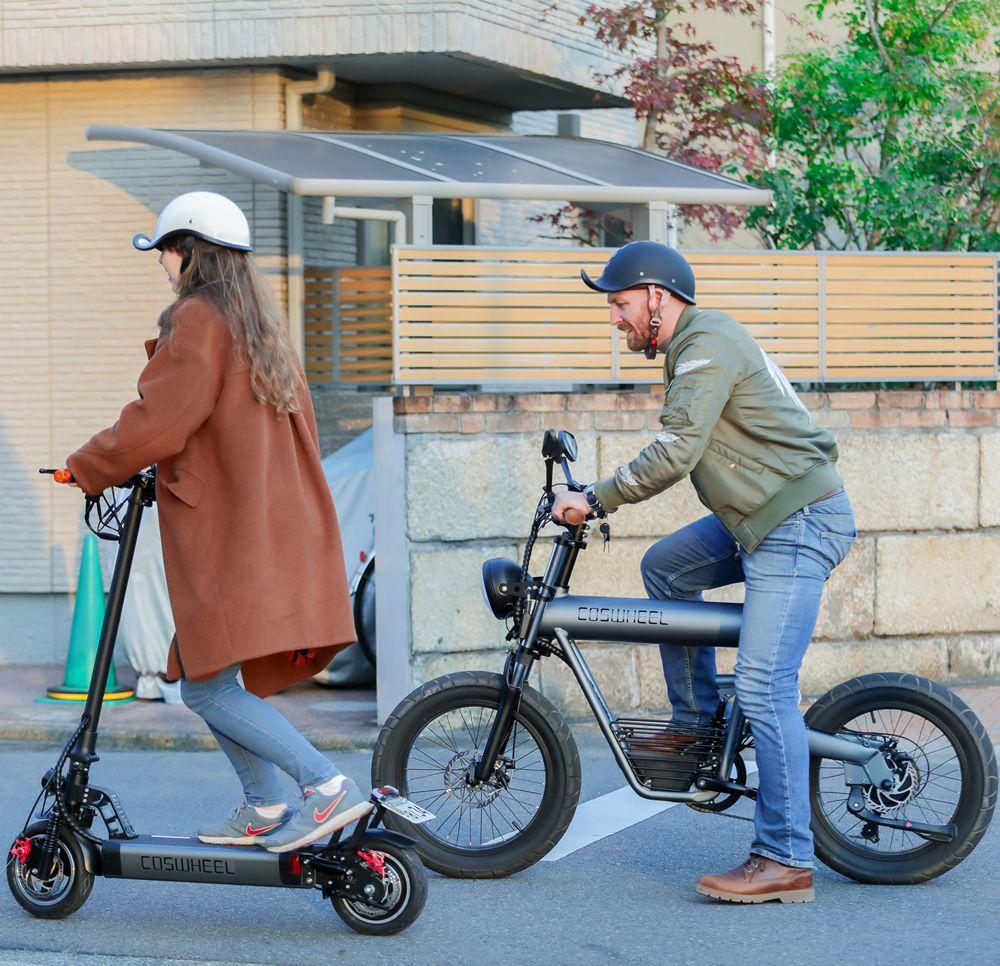 遠距離走行可能な電動バイク【COSWHEEL SMARTEV】&座れる電動キックボード【COSWHEEL EV SCOOTER】